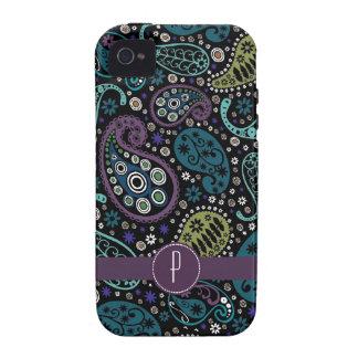 Hübscher Pfau farbiges Paisley mit Monogramm Case-Mate iPhone 4 Case