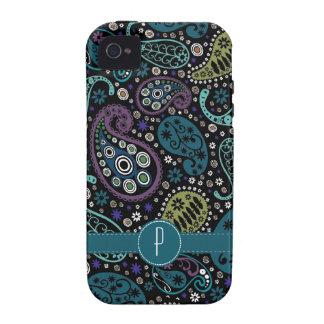 Hübscher Pfau farbiges Paisley mit Monogramm Case-Mate iPhone 4 Hülle