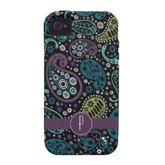 Hübscher Pfau farbiges Paisley mit Monogramm Case-Mate iPhone 4 Case
