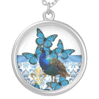 Hübscher Pfau und blaue Schmetterlinge Versilberte Kette