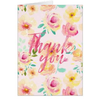 Hübscher Pfirsich-Rosa-Gelbwatercolor-Blumendank Karte