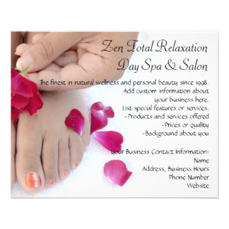 Hübscher pinkfarbener rosa Rosepedicure-Salon 11,4 X 14,2 Cm Flyer