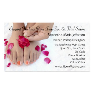 Hübscher pinkfarbener rosa Rosepedicure-Salon Visitenkarten
