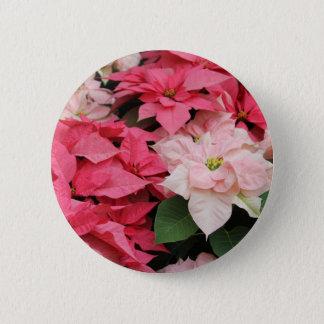 Hübscher Poinsettia-Feiertags-Knopf Runder Button 5,7 Cm