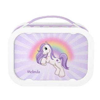 Hübscher Pony-Regenbogen lila Brotdose