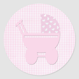 Hübscher rosa Baby-Mädchen-Vintager Wagen Runder Aufkleber