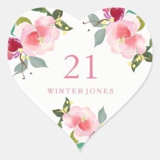 Hübscher rosa Blumenwatercolor-21. Herz-Aufkleber