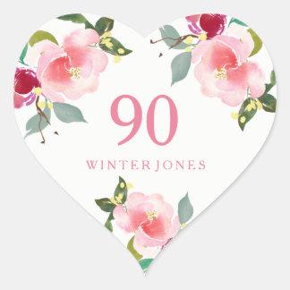 Hübscher rosa Blumenwatercolor-90. Herz-Aufkleber