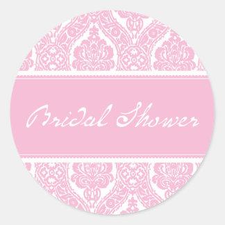 Hübscher rosa Damast-Brautduschen-Aufkleber Runder Aufkleber