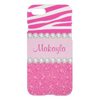 Hübscher rosa GlitterZebra Clearly™ iPhone 7 Fall iPhone 7 Hülle