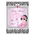 Hübscher rosa grauer Mädchen-Baby-Duschen-Damast Einladungskarte
