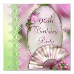 Hübscher rosa Magnolien-u. Fan-90. Geburtstag Einladungen