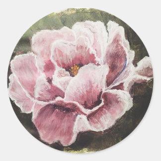 Hübscher rosa Pfingstrosen-Aufkleber Runder Aufkleber