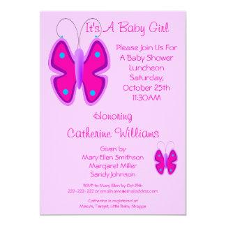Hübscher rosa Schmetterling ist es eine 12,7 X 17,8 Cm Einladungskarte