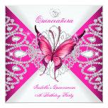 Hübscher rosa SchmetterlingTiara Quinceanera 15. Individuelle Ankündigskarten