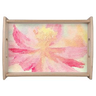 Hübscher rosa Watercolor-BlumenServiertablett Tablett