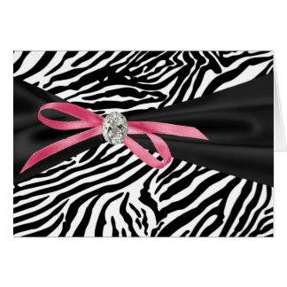 Hübscher rosa Zebra danken Ihnen Karten