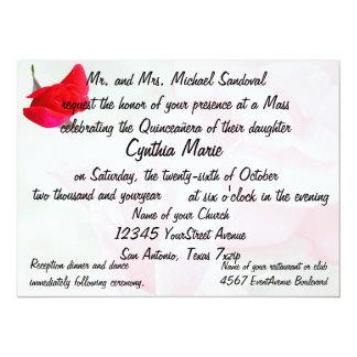 Hübscher Rote Rose Quinceanera Geburtstag 14 X 19,5 Cm Einladungskarte