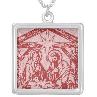 Hübscher roter Nativity Versilberte Kette