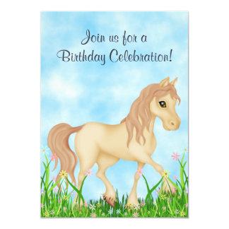 Hübscher Sahnepferde-und Blumen-Geburtstag 12,7 X 17,8 Cm Einladungskarte