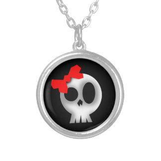 Hübscher Schädel mit rotem Bogen Halskette Mit Rundem Anhänger