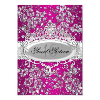 Hübscher Tiara-u. Schein-Blumen-Rosa-Bonbon 16 11,4 X 15,9 Cm Einladungskarte