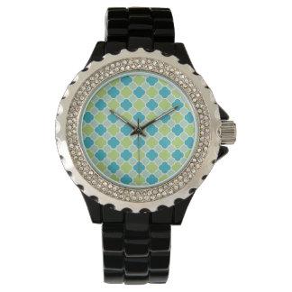 Hübscher Türkis und grünes Quatrefoil Muster Armbanduhr