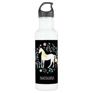 Hübscher Unicorn u. Blumen-schwarzes Edelstahlflasche