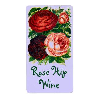 Hübscher Vintager Heirloom beschriftet Wein-Rose Versandetikett