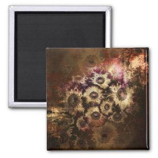 Hübscher Vintager Herbst-Sonnenblume-Blumenstrauß Quadratischer Magnet