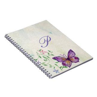 Hübscher Vintager Watercolor-Schmetterling mit Spiral Notizblock