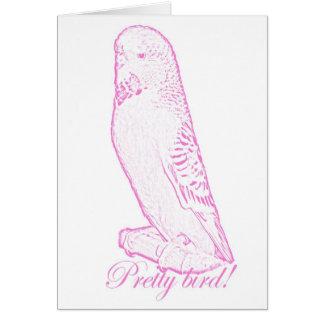 Hübscher Vogel in der rosa Karte