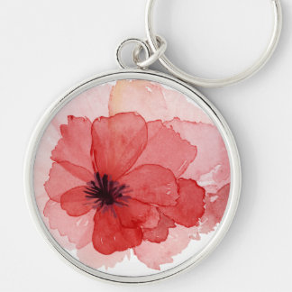 Hübscher Watercolor-rosarote Mohnblumen-Blume Schlüsselanhänger