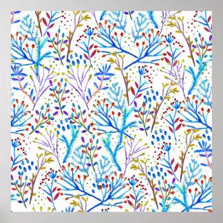 Hübscher Watercolorwinterlaub-Musterentwurf Poster