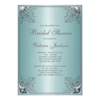 Hübsches aquamarines blaues Brautparty Individuelle Einladung