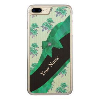 Hübsches aquamarines grünes Vintages Blumenmuster Carved iPhone 8 Plus/7 Plus Hülle