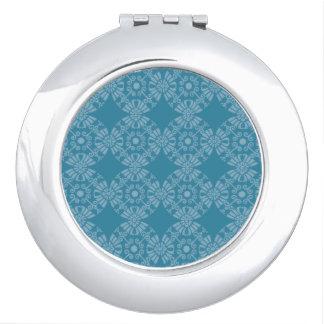 Hübsches aquamarines mit Blumenmuster Taschenspiegel