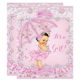 Hübsches Baby-Duschen-Mädchen-rosa mit Karte