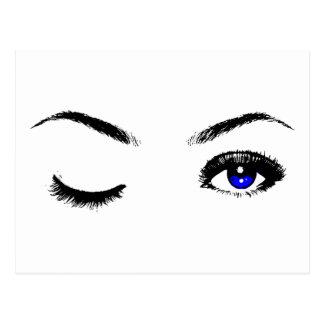 Hübsches blaue Augen-Blinzeln Postkarte