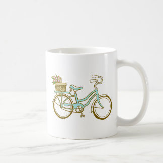 Hübsches blaues Fahrrad mit Tulpen Kaffeetasse