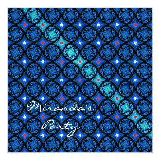 Hübsches blaues Gitter-Party-Muster Personalisierte Ankündigungen