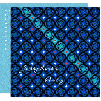 Hübsches blaues Gitter-Party-Muster Karte