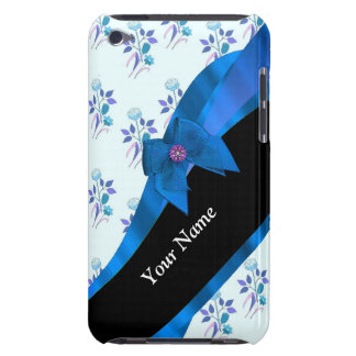 Hübsches blaues Vintages BlumenBlumenmuster Barely There iPod Cover