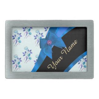 Hübsches blaues Vintages BlumenBlumenmuster Rechteckige Gürtelschnalle