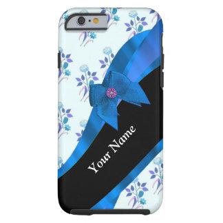 Hübsches blaues Vintages BlumenBlumenmuster Tough iPhone 6 Hülle