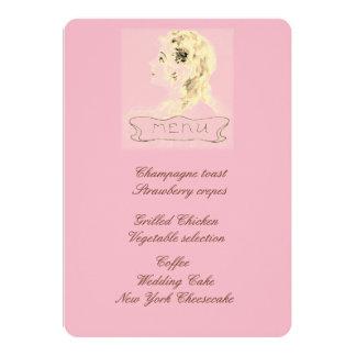 Hübsches blondes Menü Karte