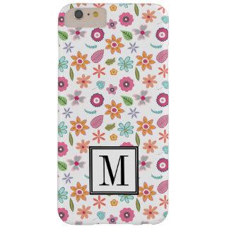 Hübsches Blumen-Druck-Initialen-Monogramm Barely There iPhone 6 Plus Hülle