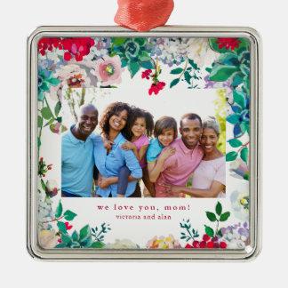 Hübsches Blumen mit Foto-Verzierungs-Geschenk für Silbernes Ornament