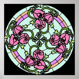 Hübsches Blumenc$beflecken-glas Plakat