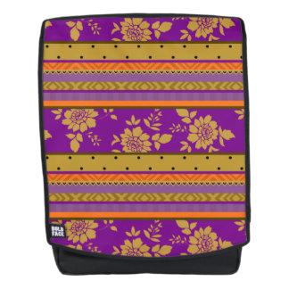 Hübsches Boho lila Senf-Gelb-Blumenmuster Rucksack